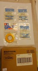 SALE! PAINTERS PREP PACKAGE MASKING TAPE ASST. AMND TESTORS DULL COAT SPECIAL PRICE.