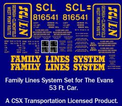 FAMILY LINES G-CAL DECAL SET FOR ARISTOCRAP EVANS CAR
