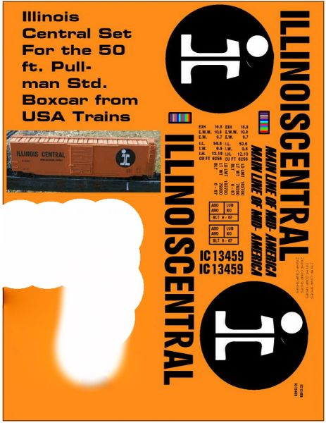 ILLINOIS CENTRAL 50 FT SD G-CAL DECAL SET. MAINLINE OF MID AMERICA