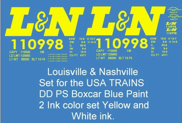 LOUISVILLE AND NASHVILLE 50 FT G-CAL DECAL BOXCAR SET