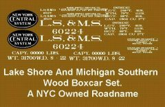 LAKE SHORE AND MICHIGAN SOUTHERN RR WOOD BOXCAR G-CAL DECAL SET