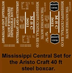 MISSISSIPPI CENTRAL RR G-CAL DECAL SET