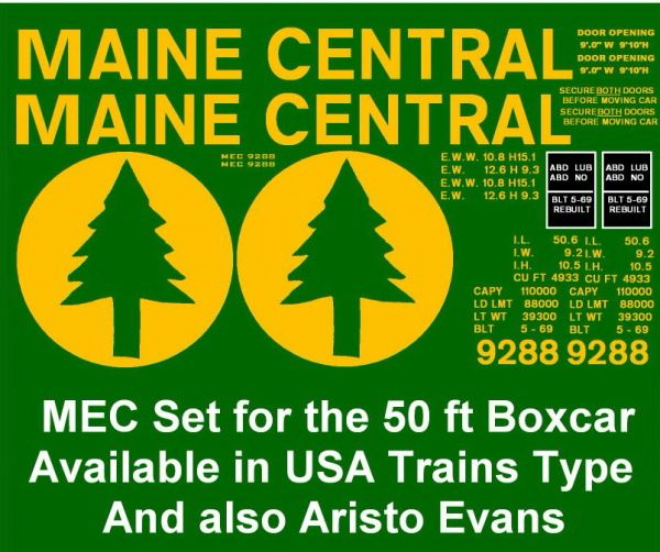 MAINE CENTRAL RR G-CAL DECAL SET 50 FT BOXCARS.