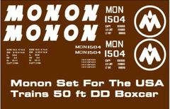 MONON RR 50 FT G-CAL DECAL SET FOR USA TRAINS DD BOXCAR.