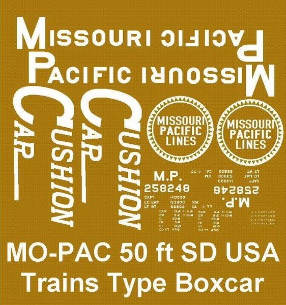 MISSOURI PACIFIC G-CAL DECAL SET FOR 50 FT SD STEEL BOXCARS.
