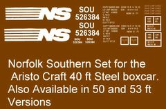 NORFOLK SOUTHERN RR 40 FT BOXCAR G-CAL DECAL SET.