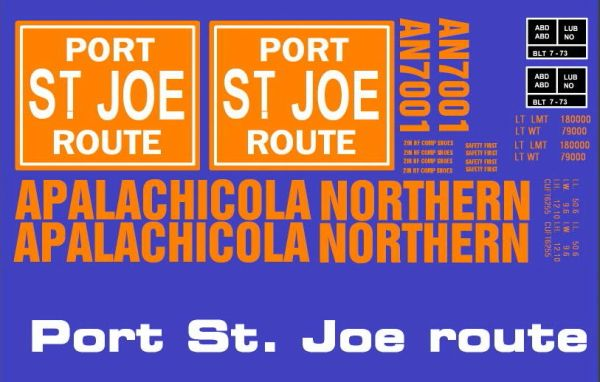 APALACHICOLA NORTHERN PORT ST. JOE ROUTE. G-CAL DECAL SET. 50 FT STEEL BOXCAR DECAL SET ORANGE-WHITE INK