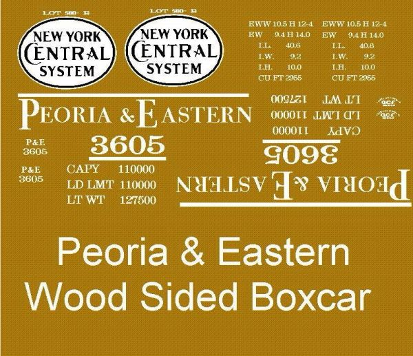 PEORIA AND EASTERN RR A NYC FAMILY ROAD 40 FT WOOD BOXCAR G-CAL DECAL SET
