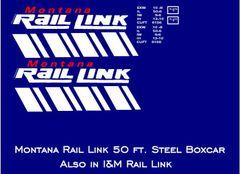 MONTANA RAIL LINK 50 FT STEEL BOXCAR G-CAL DECAL SET.