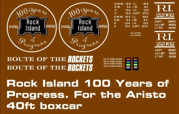ROCK ISLAND 100 YEAR 40 FT STEEL BOXCAR G-CAL DECAL SET.