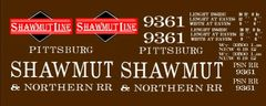 SHAWMUT LINE WOOD BOXCAR G-CAL DECAL SET,.