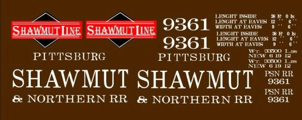 SHAWMUT LINE WOOD BOXCAR G-CAL DECAL SET,.