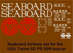 SEABOARD AIRLINE 50 FT STEEL BOXCAR G-CAL DECAL SET