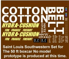 COTTON BELT HYDRA CUSHION 50 FT STL. BOXCAR G-CAL DECAL SET