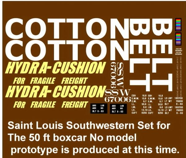 COTTON BELT HYDRA CUSHION 50 FT STL. BOXCAR G-CAL DECAL SET