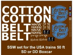 COTTON BELT LOGO 50 FT STL. BOXCAR G-CAL DECAL SET.