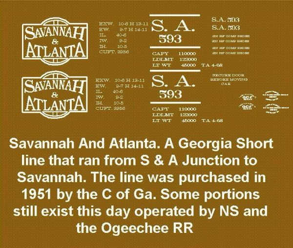 SAVANNAH AND ATLANTA RR 40 FT STEEL BOXCAR G-CAL DECAL SET.