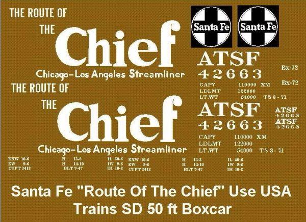 SANTA FE TCHISON, TOPEKA AND SANTA FE RR 50 FT. STEEL BOX G-CAL DECAL SET.