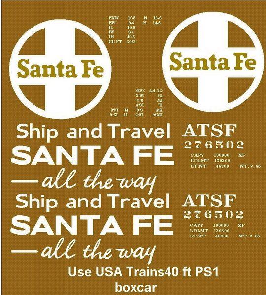 SANTA FE SHIP AND TRAVEL.. 40 FT STL. BOXCAR G-CAL DECAL SET.