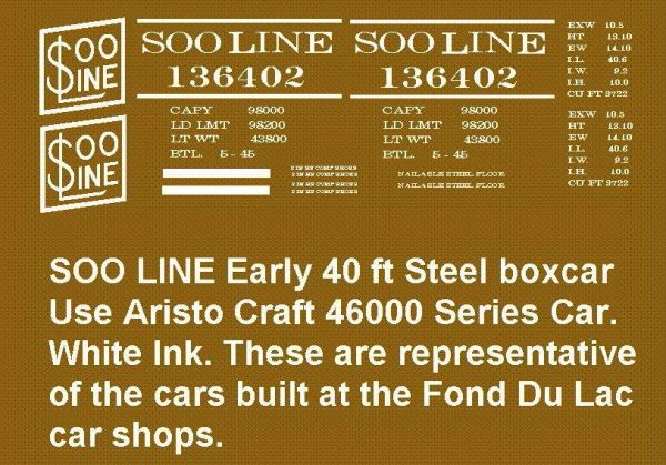 SOO LINE EARLY STEEL BOXCAR G-CAL DECAL DECAL SET.