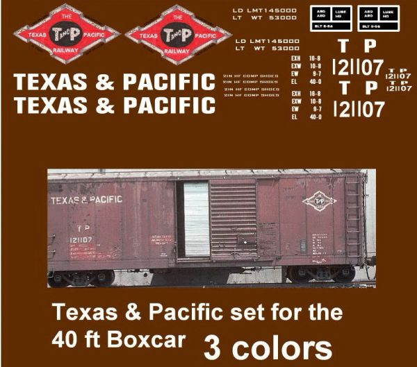 TEXAS PACIFIC 40 FT SD STL. BOXCAR G-CAL DECAL SET.