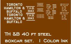 TORONTO HAMILTON AND BUFFALO RR 40 FT STL. BOXCAR G-CAL DECAL SET