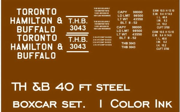 TORONTO HAMILTON AND BUFFALO RR 40 FT STL. BOXCAR G-CAL DECAL SET