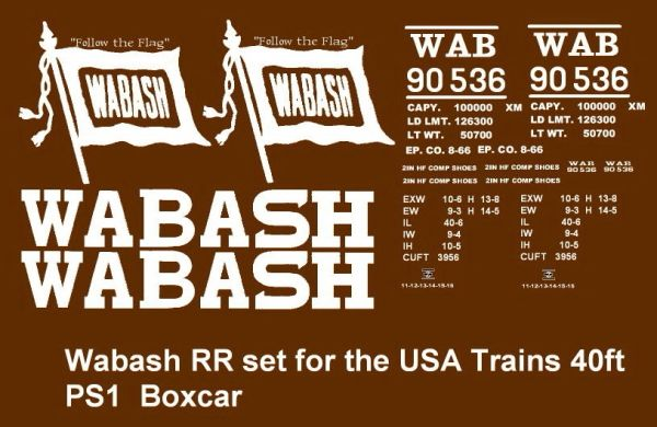 WABASH STL. 40 FT BOXCAR G-CAL DECAL SET