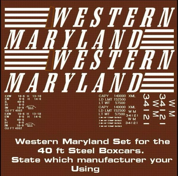 WESTERN MARYLAND 50 FT STL. BOXCAR G-CAL DECAL SET.