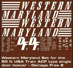 WM DF2 DAMAGE FREE 50 FT STL. BOXCAR G-CAL DECAL SET.