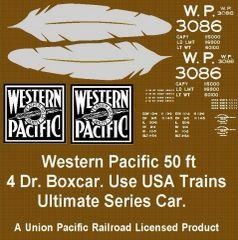 WESTERN PACIFIC FEATHER 50 FT STL. BOXCAR G-CAL DECAL SET.