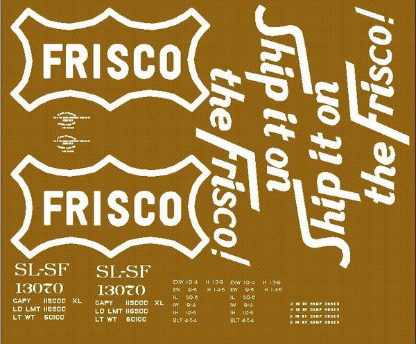 FRISCO PD BOXCAR G-CAL DECAL SET. ST. LOUIS-SANTA FE