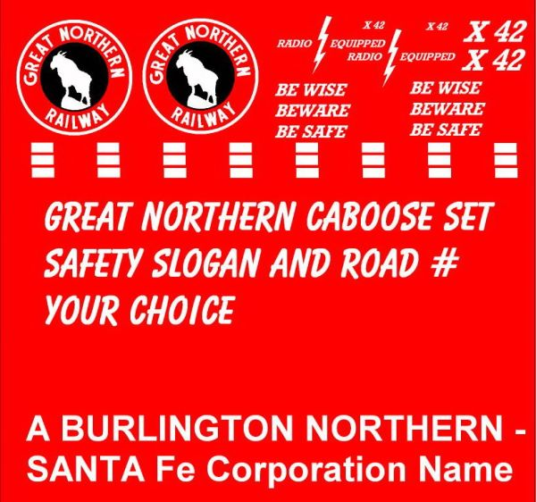 GREAT NORTHERN CABOOSE G-CAL DECAL SET