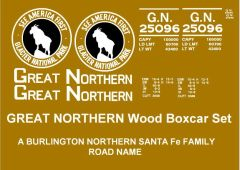 """GREAT NORTHERN WOOD BOXCAR G-CAL DECAL SET. """"SEE AMERICA FIRST"""""""