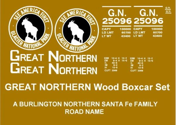 "GREAT NORTHERN WOOD BOXCAR G-CAL DECAL SET. ""SEE AMERICA FIRST"""