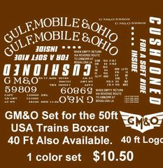 GULF, MOBILE AND OHIO RR 50 FT STL. BOXCAR G-CAL DECAL SET.