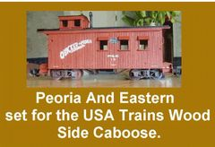 PEORIA AND EASTERN RR WOOD SIDED CABOOSE G-CAL DECAL SET