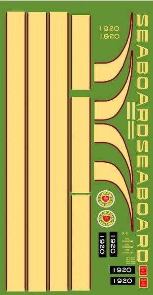 SEABOARD GP 9 DIESEL LOCOMOTIVE G-CAL DECAL SET.