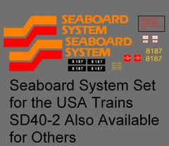 SEABOARD SYSTEM DIESEL LOCOMOTIVE G-CAL DECAL SET.