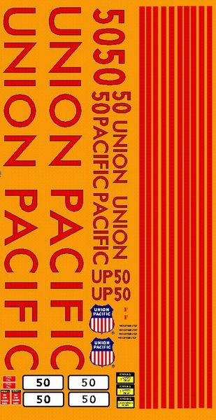 UNION PACIFIC DIESEL LOCOMOTIVE G-CAL DECAL SET.