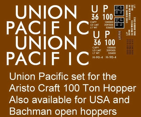 UP 100 TON HOPPER G-CAL DECAL SET.