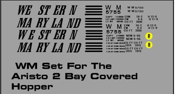 WESTERN MARYLAND G-CAL DECAL SET-BLACK INK.