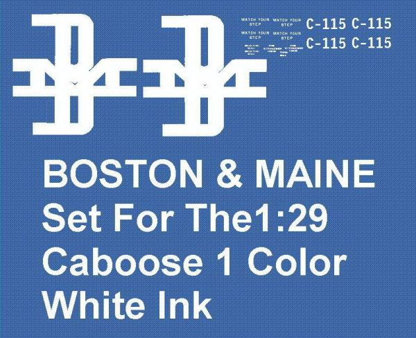BOSTON AND MAINE CABOOSE G-CAL DECAL SET.