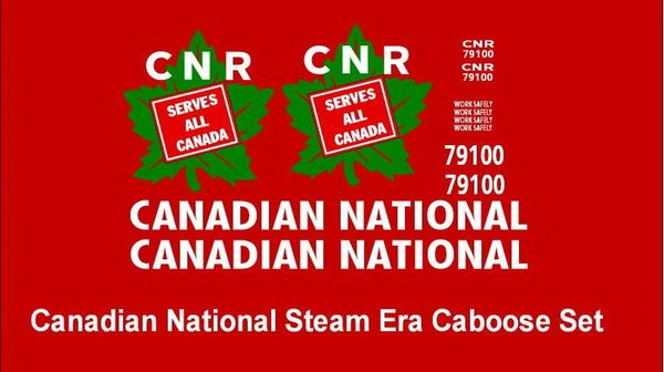CANADIAN NATIONAL WOOD CABOOSE STEAM ERA G-CAL DECAL SET.