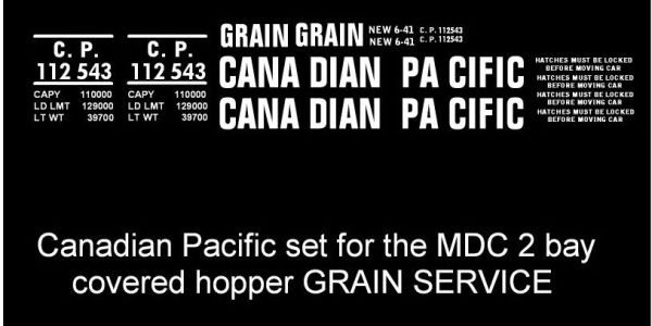 CANADIAN PACIFIC 2 BAY COVERED GRAIN HOPPER G-CAL DECAL SET. MDC MODEL