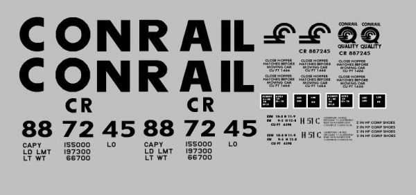 CONRAIL G-CAL DECAL SET FOR THE ARISTO CRAP 2 BAY COVERED HOPPER