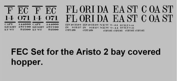 FLORIDA EAST COAST G-CAL DECAL SET FOR THE ARISTO 2 BAY COVERED PS2 TYPE HOPPER