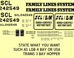 FAMILY LINES- SCL 3 OR 4 BAY CYLINDER HOPPER G-CAL DECAL SET.