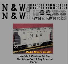 NORFOLK AND WESTERN G-CAL DECAL SET FOR THE ARISTO 2 BAY COVERED HOPPER CAR