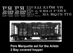 PERE MARQUETTE ARISTO 2 BAY COVERED HOPPER., G-CAL DECAL SET